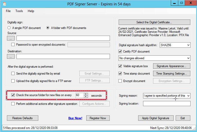 Image option verification automatique