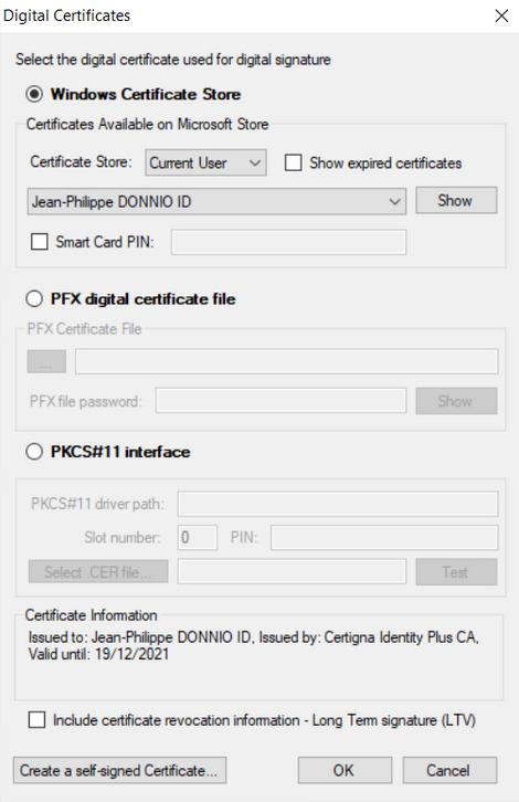 Image selection du certificat Certigna