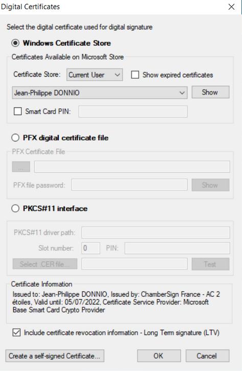 Image selection du certificat ChamberSign