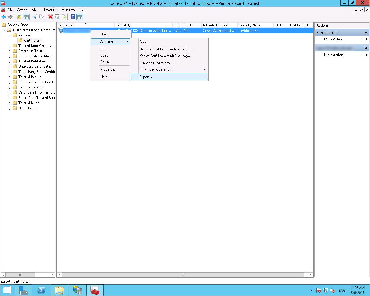 Clic droit - All Tasks - Export