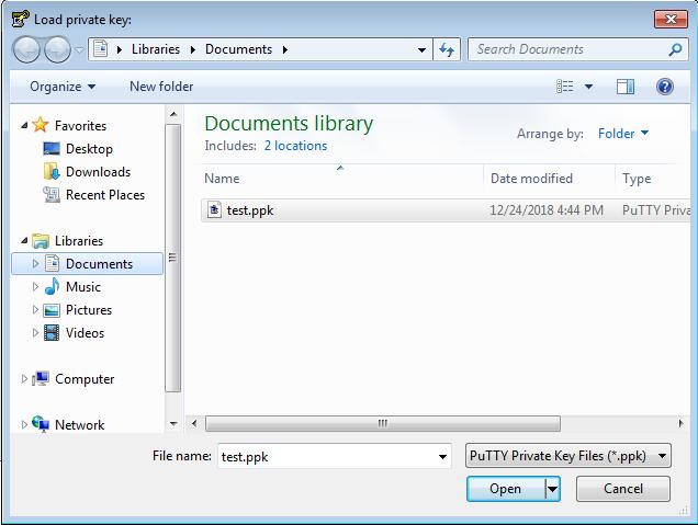 Puttygen        - Sélection de fichier - PPK