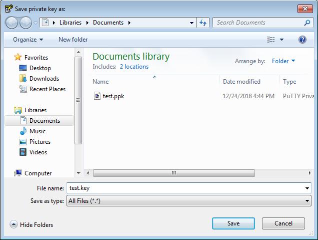 Puttygen        - Sélection de fichier - clé privée