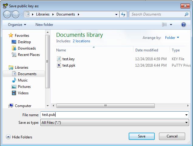 Puttygen        - Sélection de fichier - clé publique
